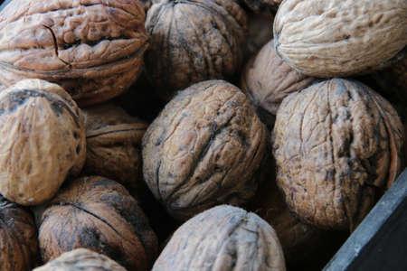 walnuts lie on a side table, rural market idea