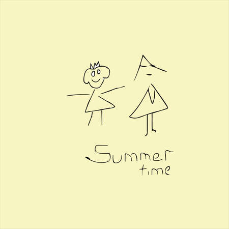 Summer time creative idea. Vector illustration. Girls and inscription. Illustration