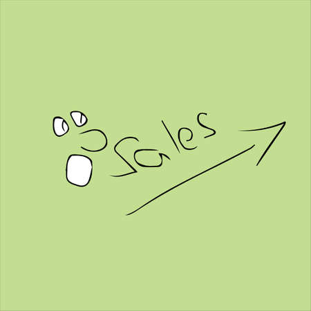 Sales growth concept. A drawing of a surprised face and a sales graph. Vector illustration