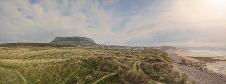 Panorama image of Knocknarea hill, Queen Maeve grave, Silver Strand, county Sligo Ireland,