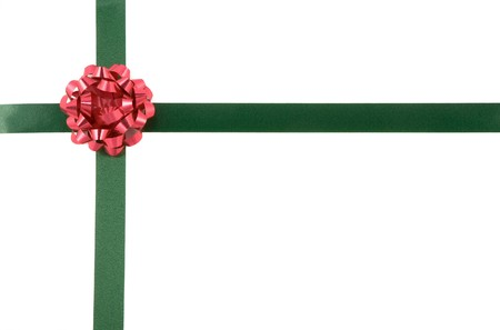 Wrapped christmas present with bow and ribbon photo