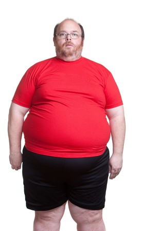 man isolated: Obese man at 400lbs - front