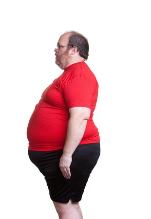 fat man: Obese man at 400lbs - left