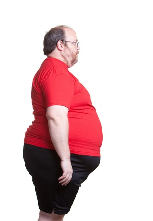 Obese man at 400lbs - right Stock Photo - 8032624