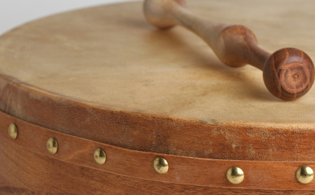 Traditional goatskin irish drum - the bodhran. photo
