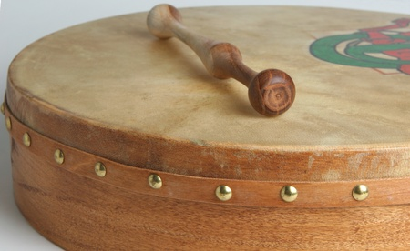 Traditional goatskin irish drum - the bodhran.