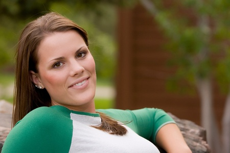 Portrait of a young model in a casual outdoor setting. photo
