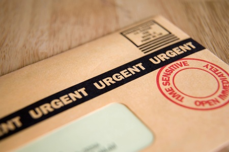 time sensitive: Urgent, Time Sensitive, Junk mail or bill Stock Photo