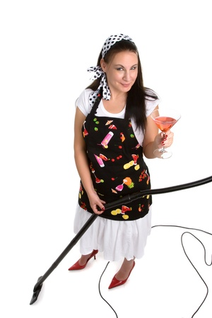 Woman with martini and vacuum