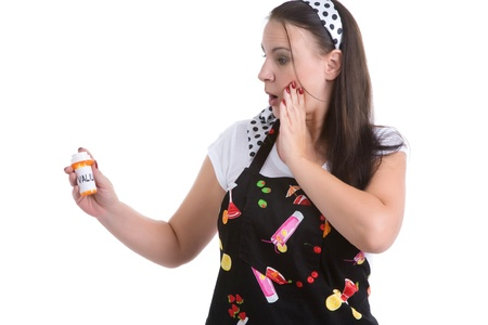 valium: Picture of humorous look at a typical housewife.  Parody. Stock Photo