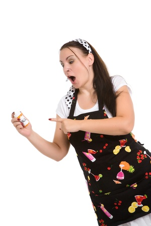 Picture of humorous look at a typical housewife.  Parody. Stock Photo