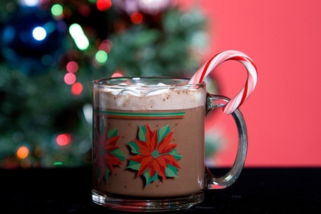 Mug of hot cocoa with marshmellows in front of christmas tree photo
