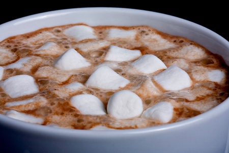Close up of a cup of Hot chocolate with marshmallows Stock Photo