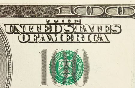 one item: closeup abstract of $100 bill in US currency
