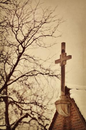 Church Steeple against a cloudy winter sky photo