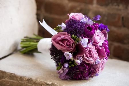 Wedding bouquet on a brides wedding day  Stock Photo