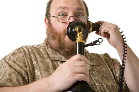 old man beard: obese middle aged man posing in studio shot Stock Photo