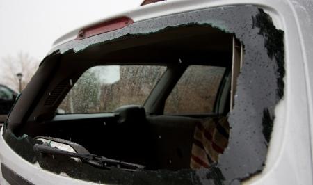 broken car: Broken car window