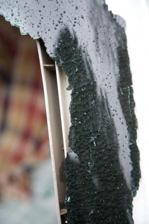 Broken car window photo