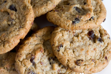 oatmeal cookie: Outmeal cookies with raisins. Stock Photo