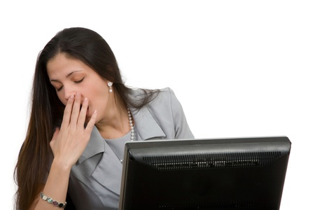 tired woman at workstation Stock Photo - 18054848