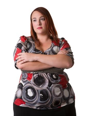 mujer gorda: mujer con los brazos cruzados Foto de archivo