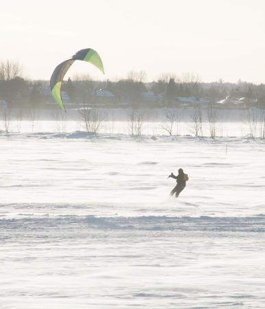 Parasailing on a frozen lake