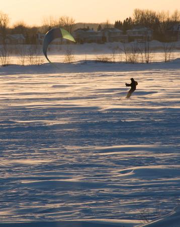 frozen lake: Parasailing on a frozen lake