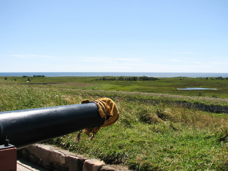 A covered 18th Century canon at Ft. Louisbourg
