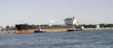 A cargo ships docks in Montreal before continuing on the Saint Lawrence Seaway.