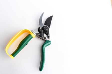 Green garden secateur with arm protection yellow, on white background Stock Photo