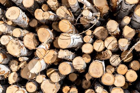 Lo sfondo di legna da ardere. Preparazione della legna da ardere per l'inverno. Una pila di legna da ardere ordinatamente impilata sulla strada con la neve Archivio Fotografico - 98218320