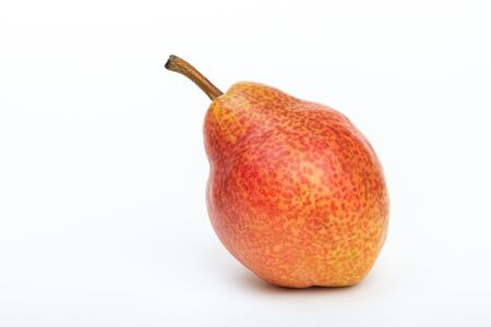 Ripe red pear on white background.