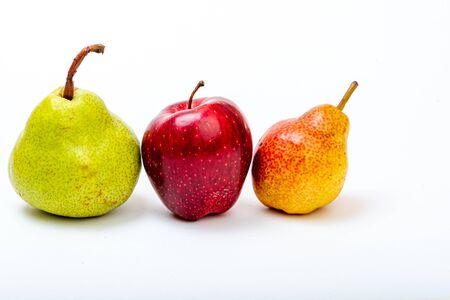 Apple, pear juicy, fresh on a white background