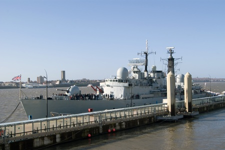 destroyer: HMS Liverpool, the last type 42 destroyer in service with the Royal Navy, berthed in Liverpool before its deployment to Libya.