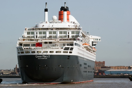 mersey: Stern view of the Queen Mary 2, arriving in the River Mersey for the first time. Editorial