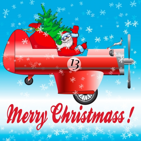 Happy Santa Claus on red car Vector