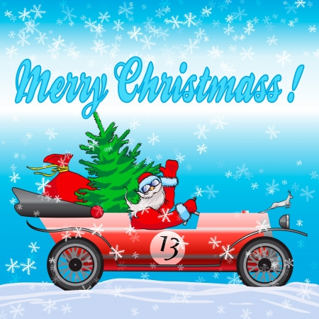 Happy Santa Claus on red car photo