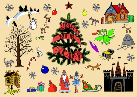 Big Christmas game card set Vector