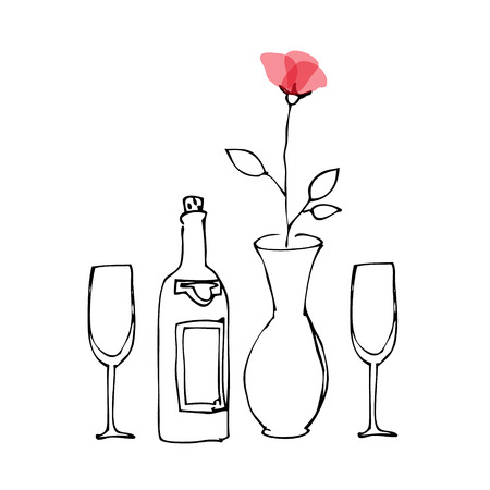 flower sketch: Wine and flower sketch