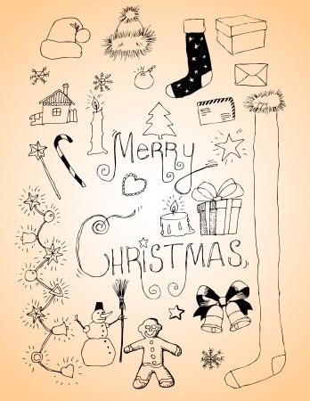 Christmas doodles sketchbook Vector