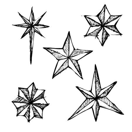 落書きスタイルの 3 つ星イラスト。スケッチ