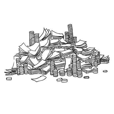 hundred dollar bill: Pile from packs of money