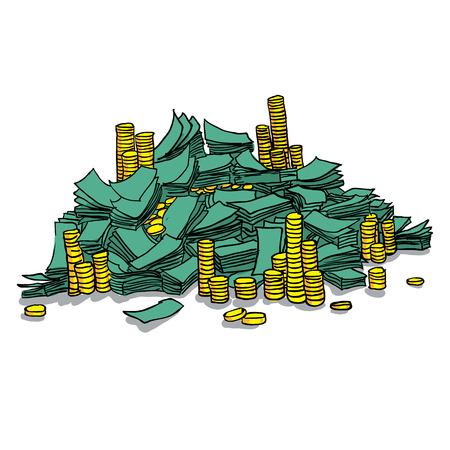 Stapel von Packungen mit Geld