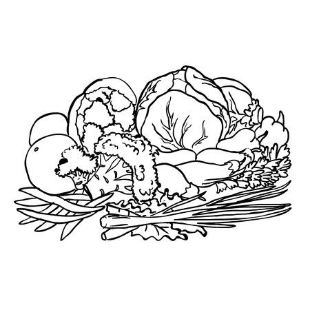 fruits et légumes isolé sur blanc