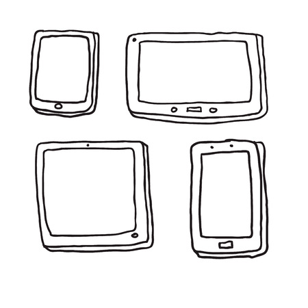 computer ,tablet ,phone. Drawing Vector