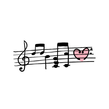 Seamless background with handwritten musical notes Vector