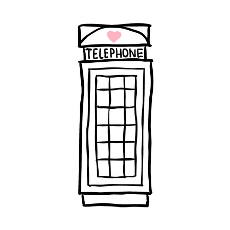 phonebooth: London pay phone. sketch illustration on white background Illustration