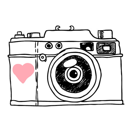 photo camera: camera. vector sketch