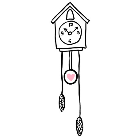 Vector illustration with clock and bird on the wall Illustration